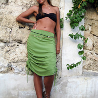 Special long skirt, adjustable skirt, maxi skirt, green akirt