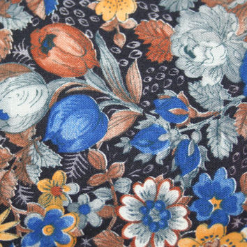 Blue and Brown Floral Fabric 1/2 Yard  Woodland Cotton Fabric Summer Fall Colors Black Background Tulip Flower Fabric Beautiful Quilt Fabric