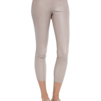 Women's Shimmery Leather Cropped Pull-On Leggings - Vince - Chai