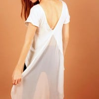 White Short Sleeve Top with Sheer Dipped Back