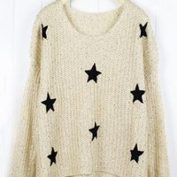 Round Neck Beige Sweater with Stars S001276