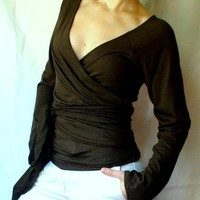 Yoga wrap shirt - organic womens clothes