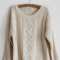 Pretty Round Neck Beige Sweater  S001634