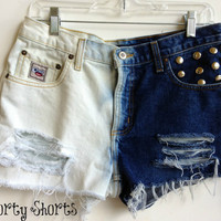 High Waisted Shorts Ombre Bleached Studded Distressed Denim Jean Shorts Size 9-10