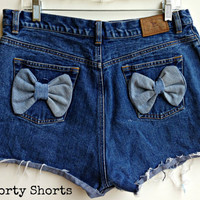 High Waisted Bow Shorts Distressed Ripped Denim Jean Shorts Plus Size 14