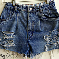 High Waisted Shorts Distressed Denim Jean Shorts Stone Wash Size 4-5