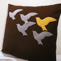 The Unique One. Tangerine Bird In Flying Birds Brown Pillow Cover. MADE-TO-ORDER