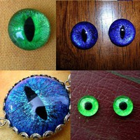 CUSTOM Just For You Evil Eye Dragon Eye Third Eye Single or Set GLASS Hand by LadyPirotessa