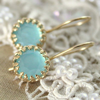 Elizabeth mint sea foam aqua marine hook earrings-  Real Aquamarine gem stone  Earrings vintage and Elegant style