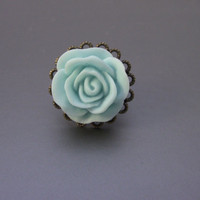 Vintage Style Bronze Filigree Flower Ring With Light Turquoise Rose
