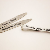 Father of the Bride - Hand Stamped Stainless Steel Collar Stays and Aluminum Tie Clip - Personalized - Wedding Gift for Dad