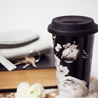 Free People Womens FP To Go Mug - Black & White Floral One