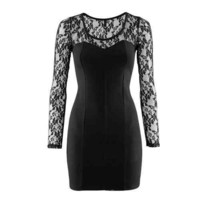 Long Sleeves Lace Sleeve and Shoulder Little Black Dress (M, L)