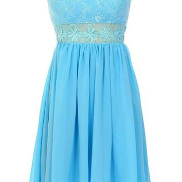 Kamilione Women's Sweetheart Lace and Chiffon Short Bridesmaid Prom Dress