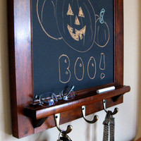 Heirloom Quality Maple Framed Chalkboard and Key Hook Organizer - Cork or Dry Erase also available