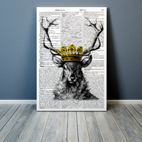 Crowned deer poster Dictionary print Stag home decor