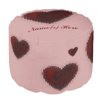 Tiled Mosaic Heart (Deep Red) Round Pouf