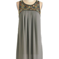 ModCloth Vintage Inspired Mid-length Sleeveless Shift Truth Bead Told Dress