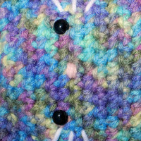 Crochet Kitty Blue and Lilac Print Amigurumi Kitty