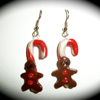 Gingerbread Man Candy Cane Earrings