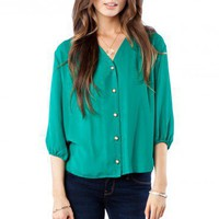 Crosby Blouse in Green - ShopSosie.com