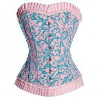 MY-137 - Long Bodied Pink & Blue Satin Corset - Authentic steel and boned corsets - Authentic
