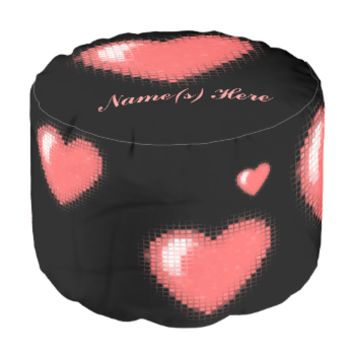 Tiled Mosaic Heart (Pink) Round Pouf