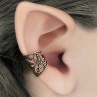 Soft Whispers - Brass Filigree Ear Cuff