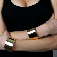 Gold Cuff Set - Two Cuff Set / Gold Alloy / One Size Fits Most