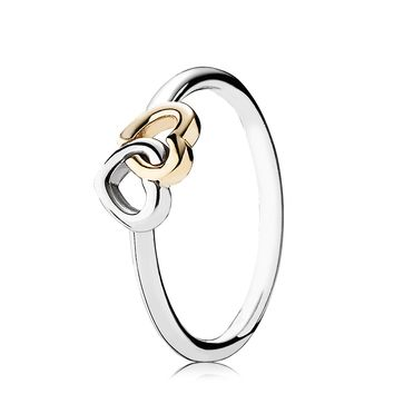 PANDORA Ring - Sterling Silver & 14k Gold Heart to Heart