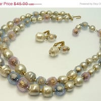 Vintage Double Strand Baroque Pearl Foiled Bead Necklace & Earrings