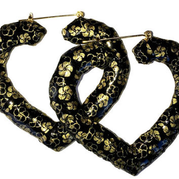 Black & Gold Floral Heart Bamboo Earrings
