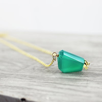 Geometric Gemstone Necklace, Dark Green Necklace, Triangle Drop Necklace, Valentines Day, Shamrock Green, Emerald Green, Gold Necklace