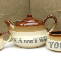 Vintage Tea for Two Set, Teapot & Cups