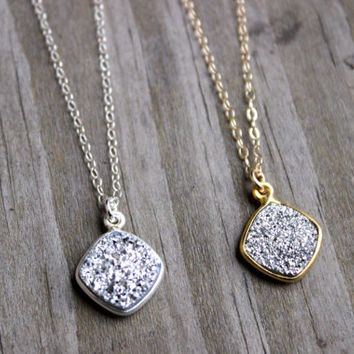 Gold or Silver Platinum Colored Druzy Charm Necklace on 14k Gold Filled or Sterling Silver Chain Pendant Necklace Druzy Sparkle