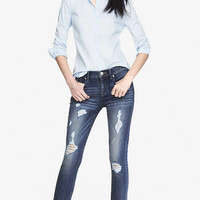 MID RISE CROPPED DESTROYED JEAN LEGGING from EXPRESS