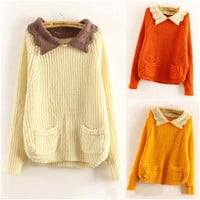Women Cute Retro Bat Sleeve Loose Sweet Collar Knitted Pullover Jumper Sweater