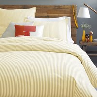 Ticking Stripe Duvet Cover + Shams - Horseradish