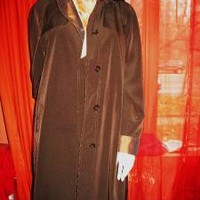 GALLERY Hooded Trench Raincoat  W  Lining  Brown Size 10 Very Long