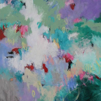"""SALE Abstract Painting on Large Canvas 30x40 Colorful Acrylic Art """"Garden Fountain"""""""