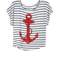 Red Anchor With Stripes Tee