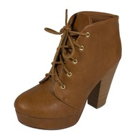 Women's Agenda Lace Up Platform Ankle Bootie with Thick Heels in Tan Leatherette