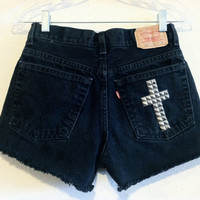 Black Levi&#x27;s Cross Studded High Waisted Shorts (Size 26)