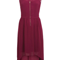 Burgundy Zip Front Dress
