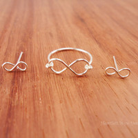 Infinity Ring & Mini Stud Set, Sterling Silver