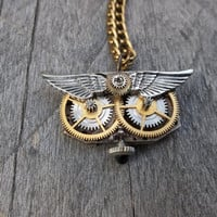 Reserved Branden B.:  Clockpunk Steampunk Watch Movement &amp; Gears Owl Face Pendant Necklace on Brass Curb Link Chain