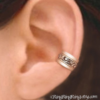 Set of 3 - Engraved sterling silver ear cuff earring jewelry, 925 non pierced for men and women (Matte or Shine) 092612