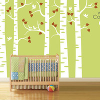 "Baby Nursery Wall Decals - Birch Trees Decal - Tree Wall Decal - Tree Wall Decals - Tree Decal - Large: approx 95"" x 136"" - K018"