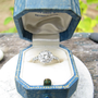 Amazing Art Deco Platinum Old European Cut Diamond Halo Engagement Ring by Traub Brothers with Original Box