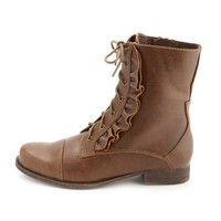 Ruffled Lace-Up Combat Boot: Charlotte Russe